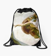 The Creation of Adam Painting by Michelangelo Sistine Chapel Drawstring Bag