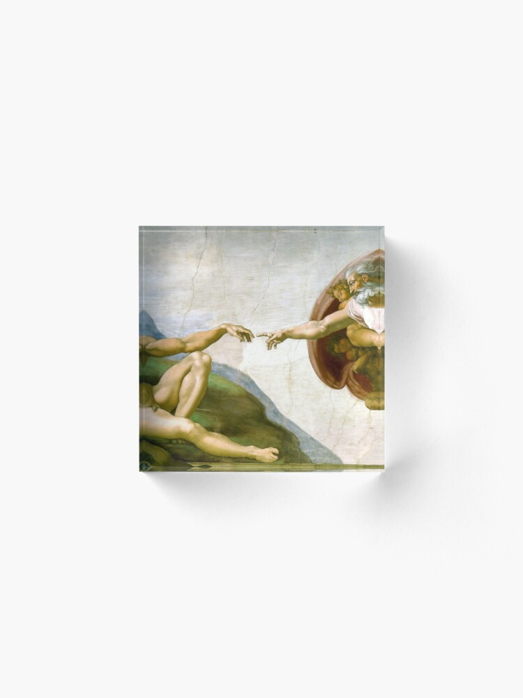 Alternate view of The Creation of Adam Painting by Michelangelo Sistine Chapel Acrylic Block