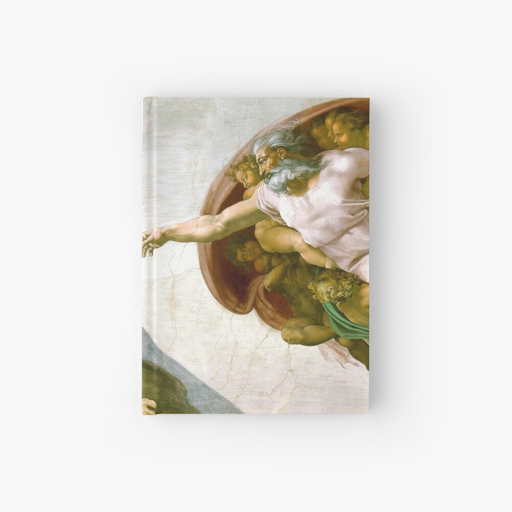 The Creation of Adam Painting by Michelangelo Sistine Chapel Hardcover Journal