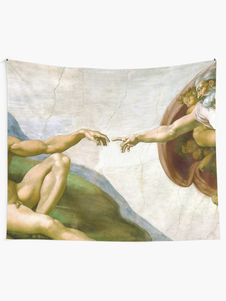 Alternate view of The Creation of Adam Painting by Michelangelo Sistine Chapel Tapestry