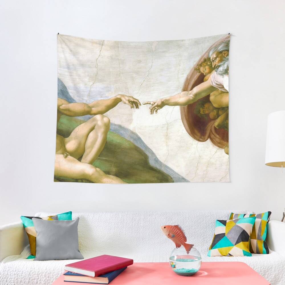 The Creation of Adam Painting by Michelangelo Sistine Chapel Tapestry