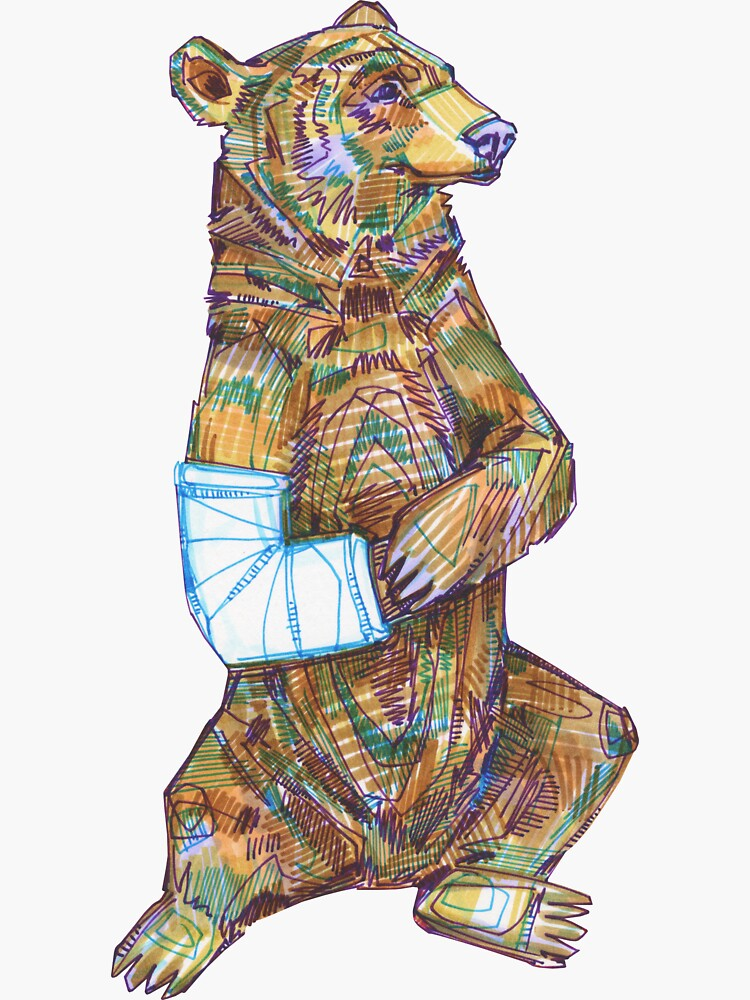 Broken Arm Bear Drawing - 2017 by gwennpaints