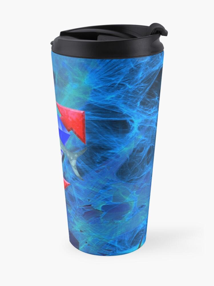 Alternate view of Artful diamond shark Travel Mug