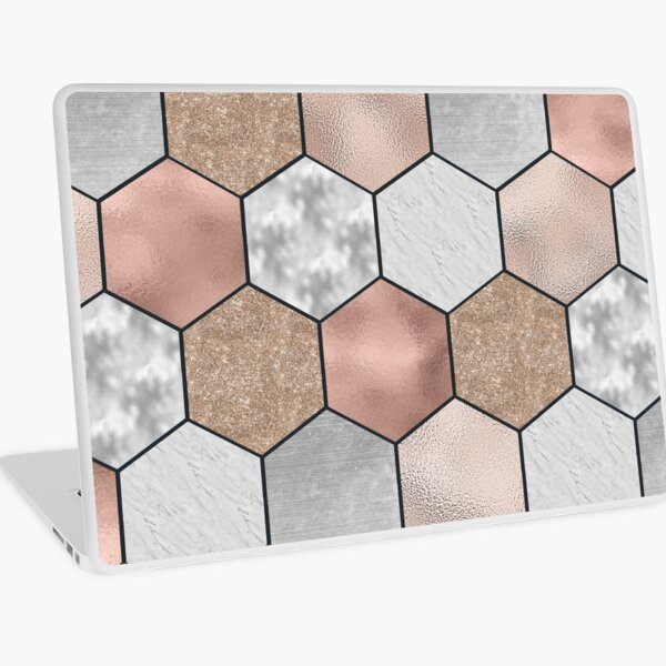 Marble hexagons and rose gold on black Laptop Skin