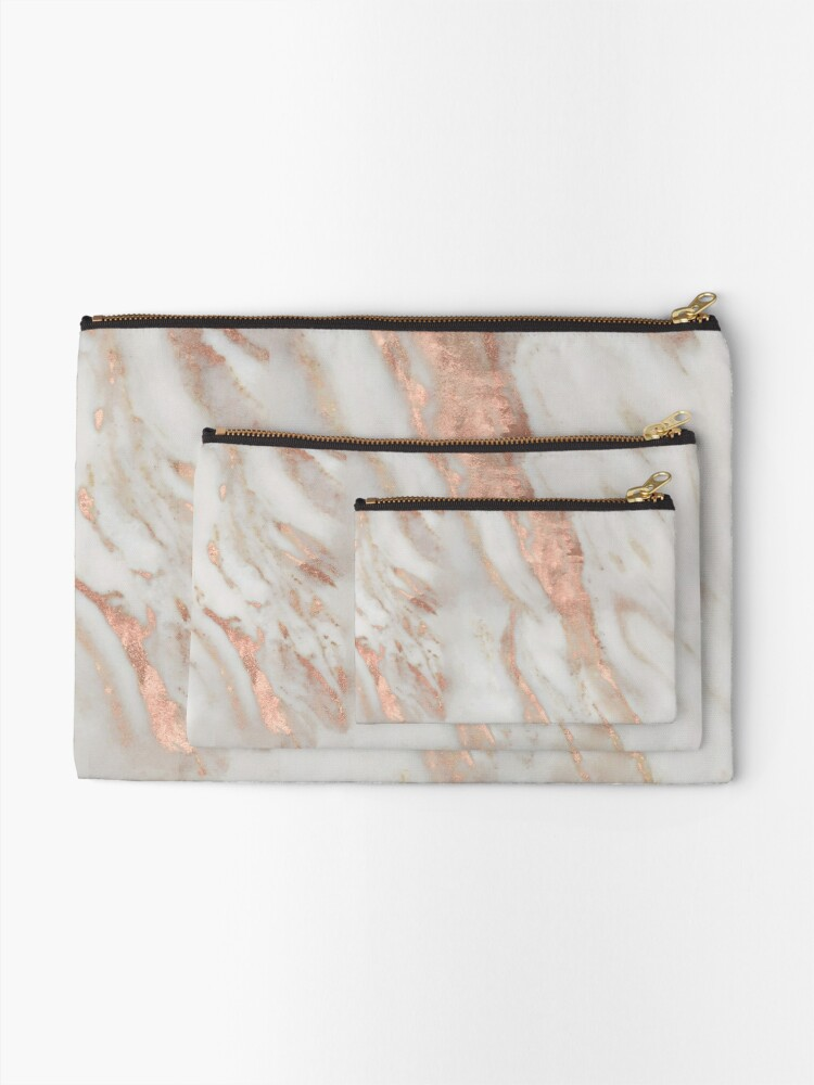 Alternate view of Civezza - rose gold marble Zipper Pouch