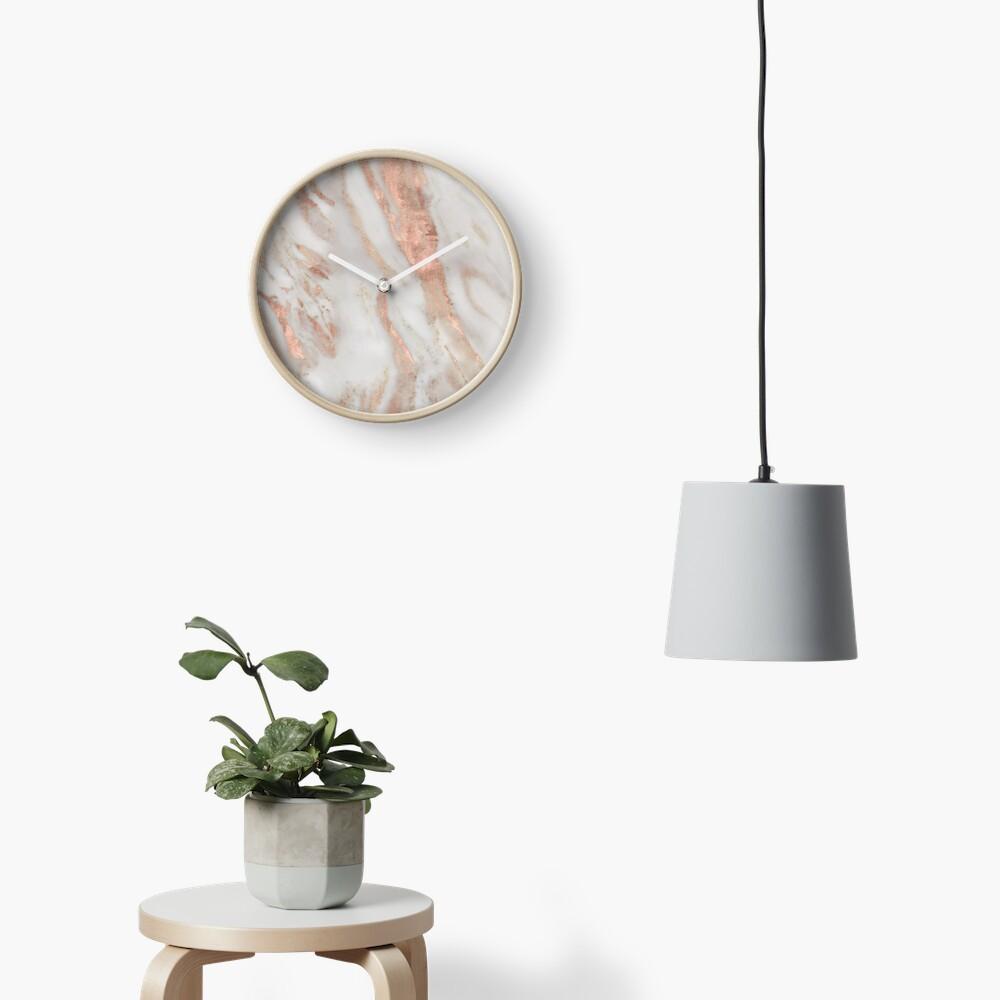 Civezza - rose gold marble Clock