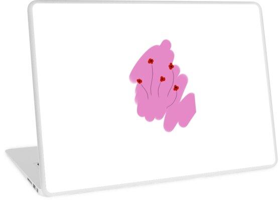 Pastel Aesthetic Pink Black Red Simple Minimalistic Flowers Laptop Skin By Kingkhronos