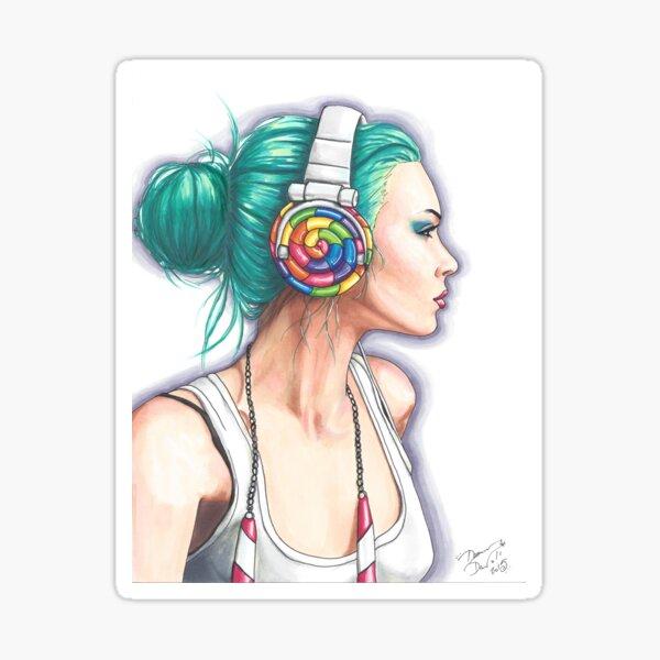 Candy Rocker Headphone Girl Sticker