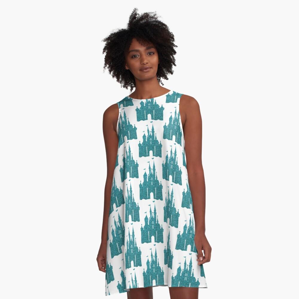 Blue Glitter A-Line Dress