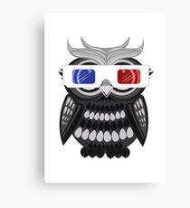 Owl - 3D Glasses - White Canvas Print