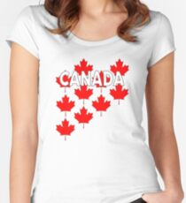 Canada Maple Leaf Strewn  Women's Fitted Scoop T-Shirt