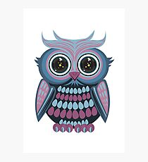 Star Eye Owl - Blue Purple Photographic Print