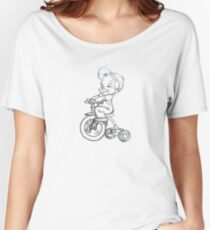 pencil sketch kid on tricycle Women's Relaxed Fit T-Shirt