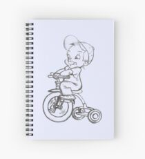 pencil sketch kid on tricycle Spiral Notebook