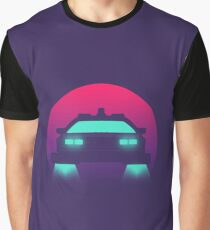 DeLorean DMC-12 Back To The Future Car - Time Machine Sunset Graphic T-Shirt