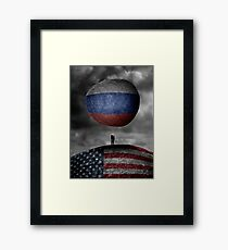 Trump. Between a rock and a hard place. Framed Print