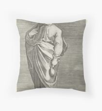 Apostle Matthew with purse, Marco Dente, after Marcantonio Raimondi, Raphael, 1517 - 1527 Throw Pillow