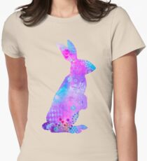 Bunny Girl Mixed Media Artwork Womens Fitted T-Shirt