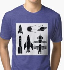 illustration  with space ships silhouettes on white background Tri-blend T-Shirt