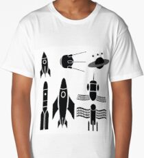 illustration  with space ships silhouettes on white background Long T-Shirt