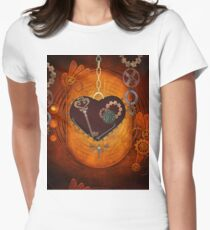 Steampunk, heart with gears Womens Fitted T-Shirt