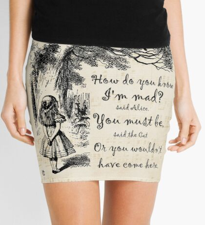 Cita de Alicia en el país de las maravillas: cómo sabes que estoy loco Minifalda