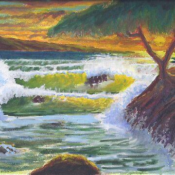 Waves Crashing at Sunset by mmhall