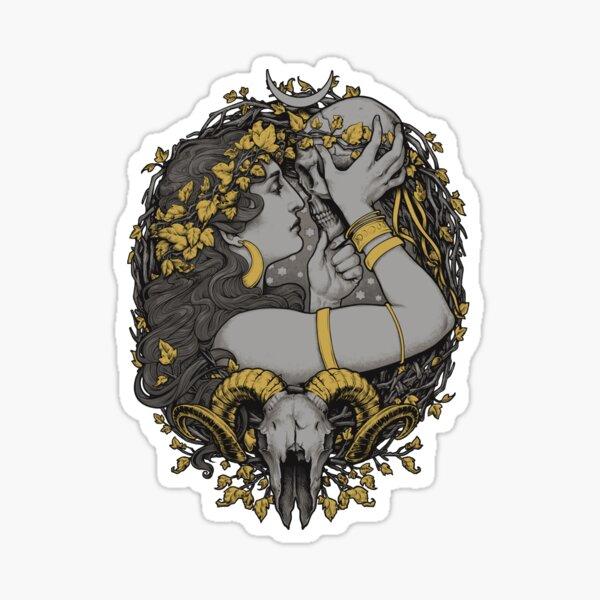 avec un crâne humain et bélier dans un cadre botanique. Sticker