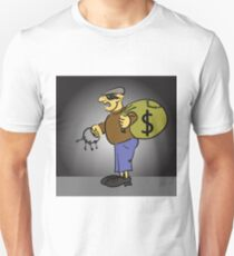 colorful illustration with cartoon thief with keys on grey background T-Shirt
