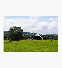 The tree, the Pyramid stage and the Tor (Glastonbury) Photographic Print