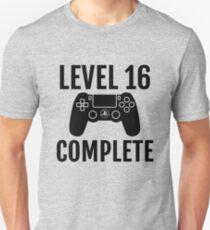 Level 16 Schließen Sie den 16. Geburtstag für ein Videospiel, Gamer Unisex T-Shirt