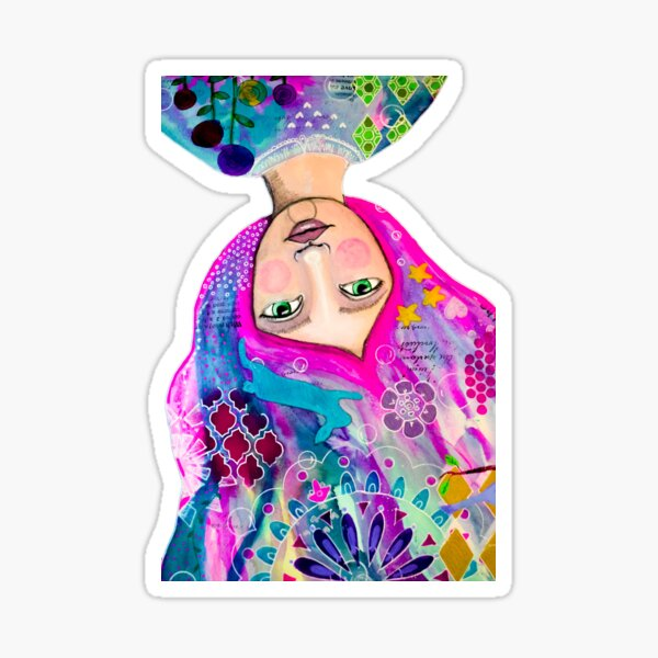 The Mind of a Woman Mixed Media Artwork Sticker