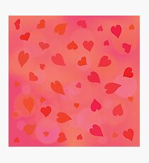 colorful illustration  with red hearts on pink background Photographic Print