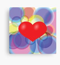 colorful illustration with red heart on colored background Canvas Print