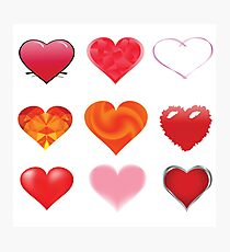 colorful illustration with abstract red hearts set on white background Photographic Print