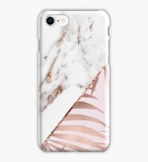 Rose gold marble & tropical ferns iPhone Case/Skin