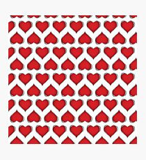 illustration with red hearts on white background Photographic Print