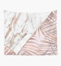 Rose gold marble & tropical ferns Wall Tapestry