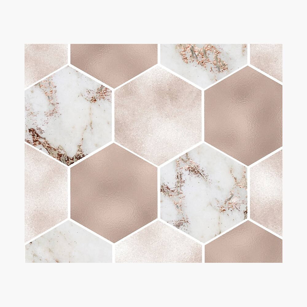 Artico Marmor Rose Gold Perle Sechsecke Fotodruck