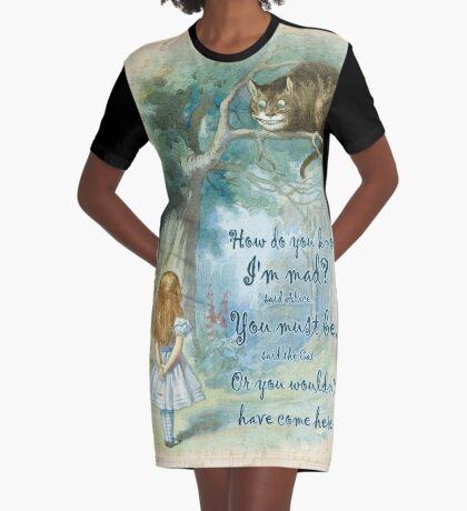 Cita de Alicia en el país de las maravillas: cómo sabes que estoy loco Vestido camiseta