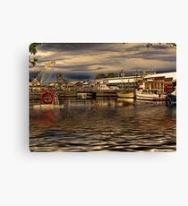 Boats In Hobart HDR Canvas Print