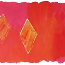 Diamond Pink and Orange Water Inspirations: abstract watercolour painting by Sue Wellington