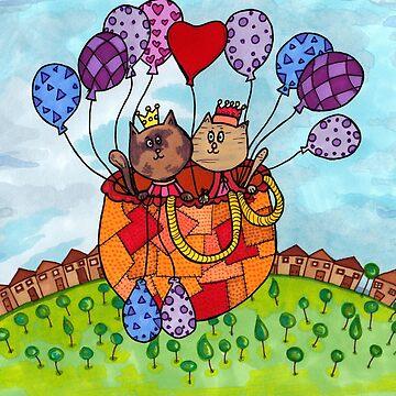 Cat Date Balloon Ride by katrinahajowyj