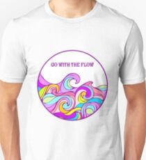 Colorful waves; colorful water, happy waves, Go with the flow T-Shirt