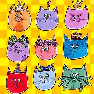 Colourful Cats by katrinahajowyj