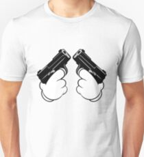 Mickey Mouse Hands Shooting Two Guns T-Shirt