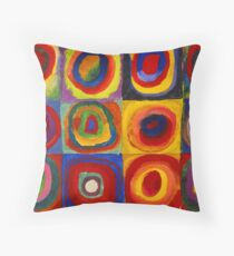 Squares with Concentric Circles by Kandinsky Throw Pillow