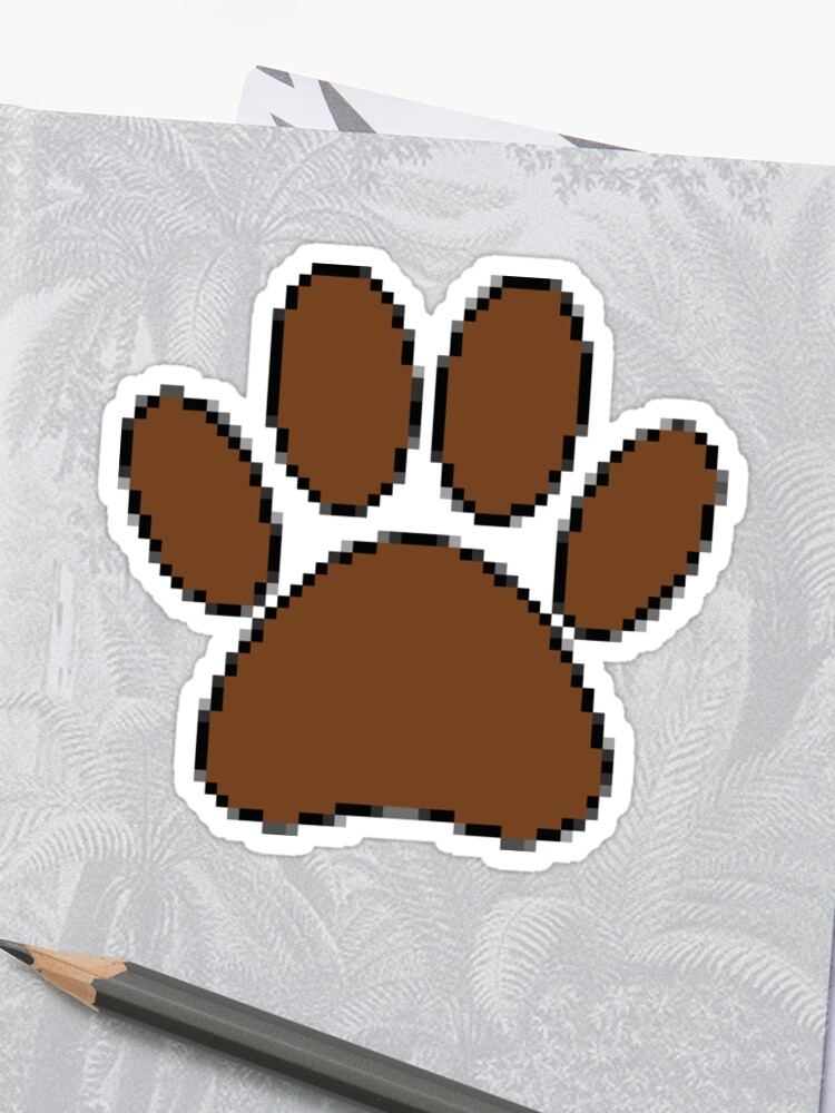 Pixel Dog Paw Print Sticker By Almdrs