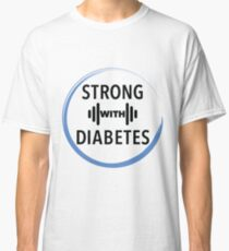 Strong with Diabetes (blue circle black text) Classic T-Shirt