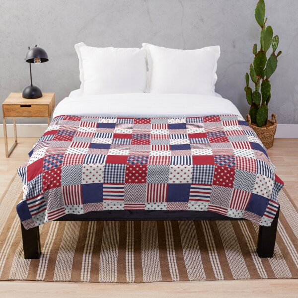 USA Americana Patchwork Red White & Blue Quilt Throw Blanket